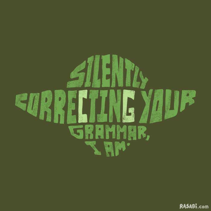 t-shirt yoda grammar syntax star wars
